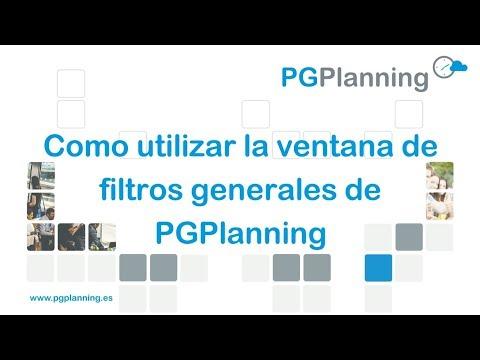 Cómo utilizar la ventana de filtros generales en PGPlanning